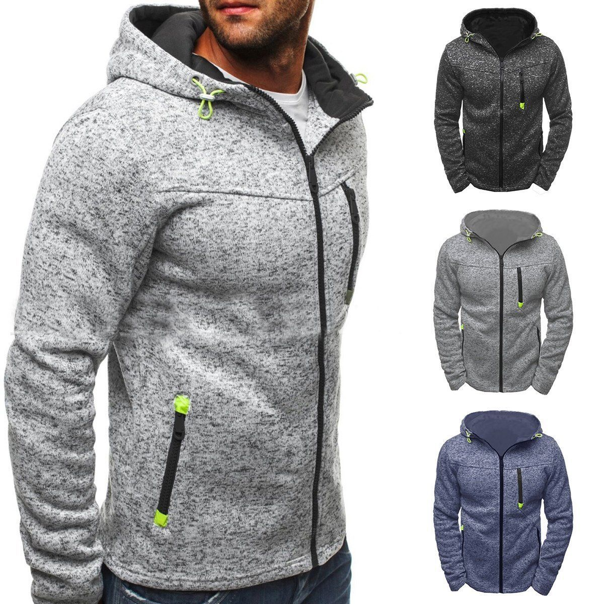 Men/'s Slim Pullover Hoodie Winter Warm Hooded Sweatshirt Coat Sweater Outwear