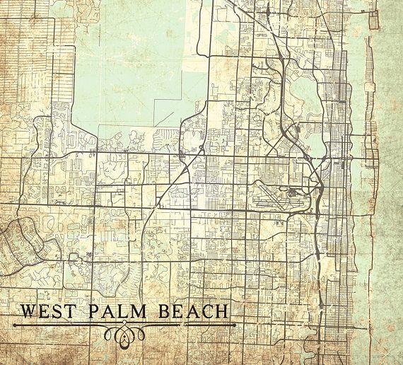 WEST PALM Beach FL Canvas Print Florida Fl Vintage map West Palm