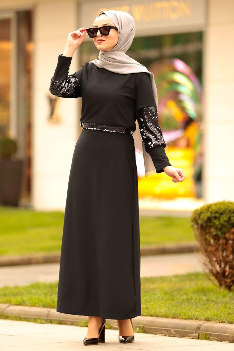 0885d5cf1d218 Nayla Collection - Pul Payetli Siyah Tesettür Elbise 1002S ...