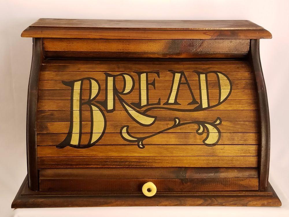 Primitive Wood Bread Box Roll Top Vintage Antique