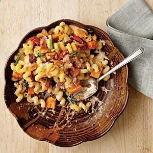 Dinner Mac and Cheese--what a great spin on a classic. Mac  cheese   veggies   leftover proteins (recipe calls for ham, but could easily swap out turkey or pork loin) = yummy treat!