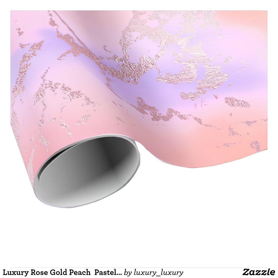 Luxury Rose Gold Peach  Pastel Purple Marble Wrapping Paper