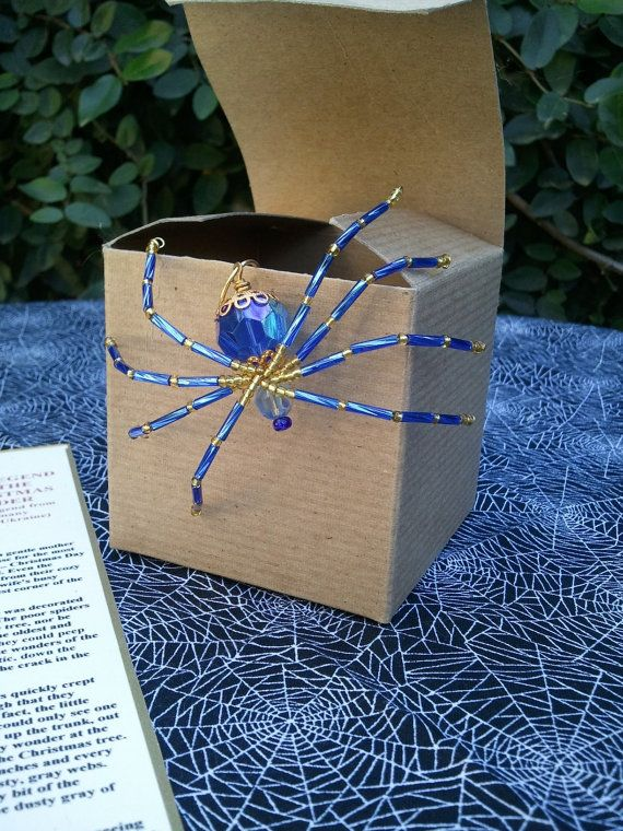 Handmade Beaded Christmas Spider, Matching Beaded Hanger and Legend Cobalt & Gold Glass Beads and Wire