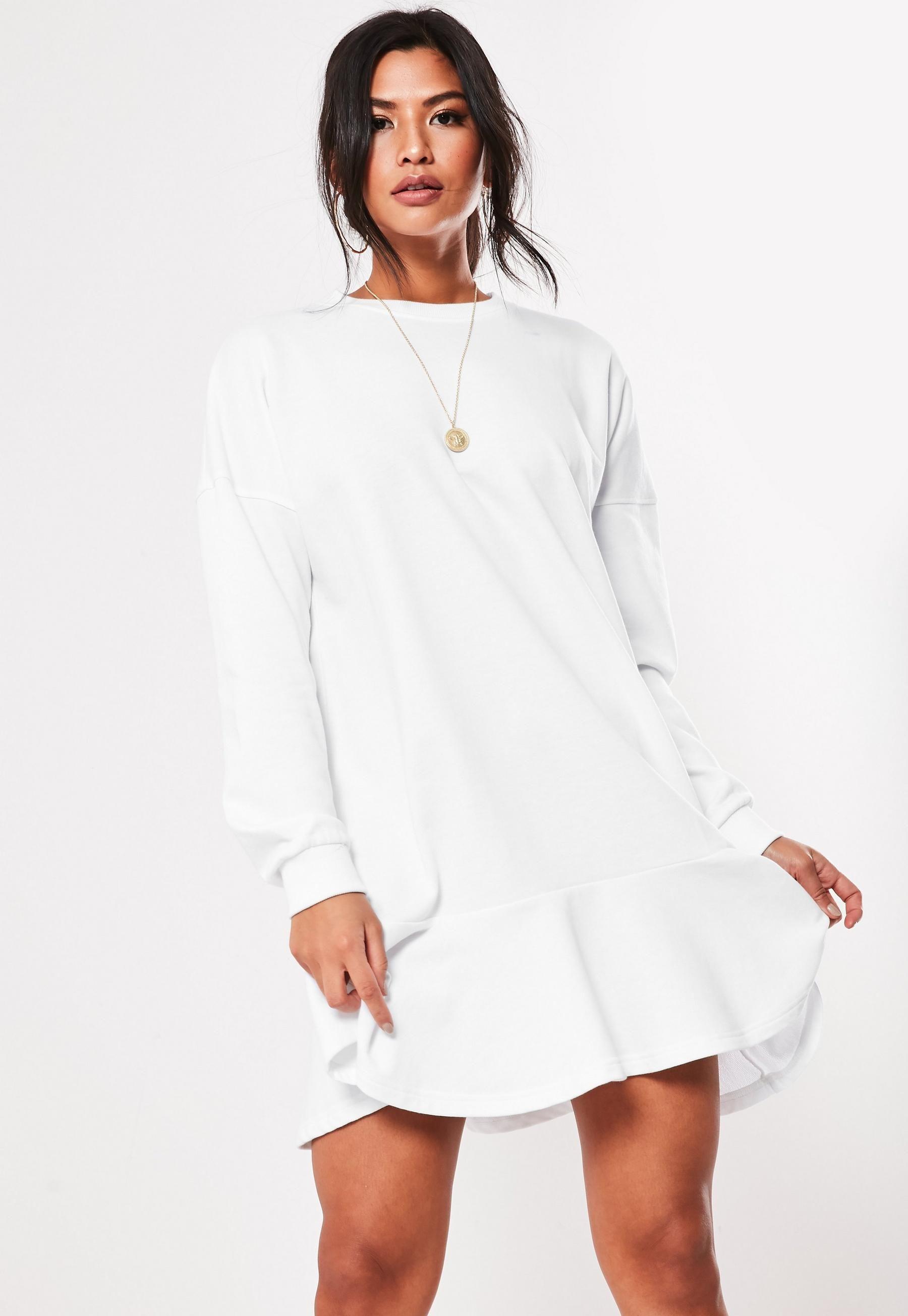 White Frill Hem Sweater Dress Missguided Sweater Dress Oversized Women Dress Online Clothes [ 2608 x 1800 Pixel ]
