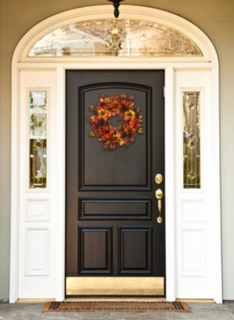This 28-inch wreath is a wonderful decorative piece that transitions perfectly into fall and Halloween with its six vibrant sunflowers in yellow and orange. Three gold-tipped pine cones add a natural touch with just a hint of glittery elegance. Various colors and sizes of berries nod to the fall berry harvest. You know it's fall when the ground is littered with leaves in warm hues from gold to burgundy. Those warm, comforting colors are found encircling the wreath in a variety of leaves.