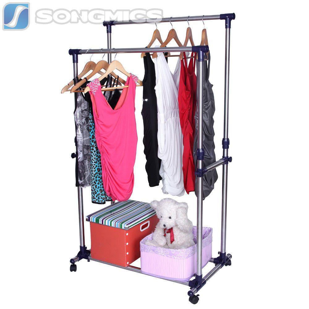 Metall Kleiderständer 100-165cm Kleiderstange 4 Rollen Verkaufsständer LLR03L