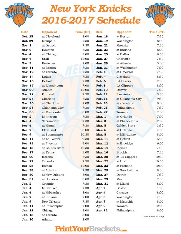 photograph relating to Bulls Schedule Printable called Printable Refreshing York Knicks Basketball Routine 2016 - 2017