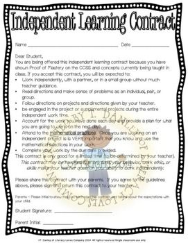Independent Learning Contract Math  Gifted And Talented