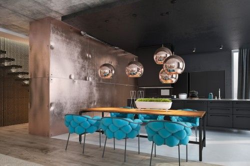 Interior design in the style - minimalism, loft, lettering, eco materials, smart house, natural colors.