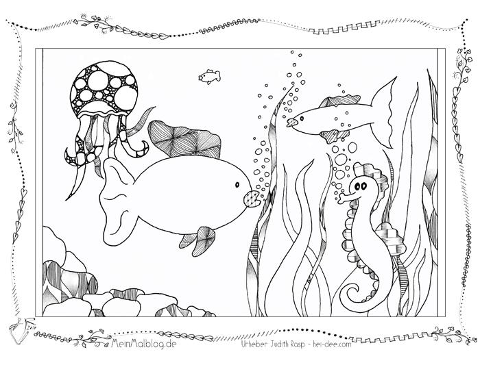 Ausmalbild Unterwasser