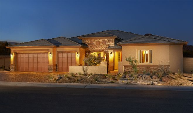 This Robert home features a stucco and stone exterior, a charming courtyard entry and a convenient 3-car garage. The inviting ranch-style plan by Richmond American is now selling in Cave Creek, AZ.