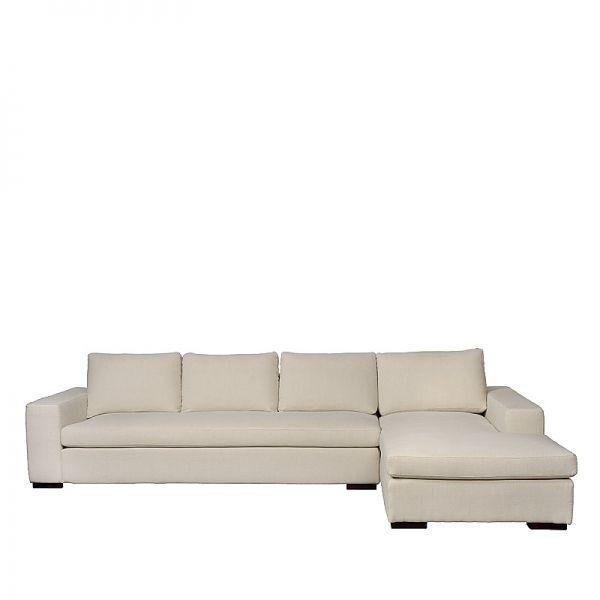 Charrell Home Interiors - SOFA APOLLO CORNER - SHADOW NATUREL 01 - 338 X 103/210 - h 70 CM - witte hoekzetel. Poten en stof kan aangepast worden!