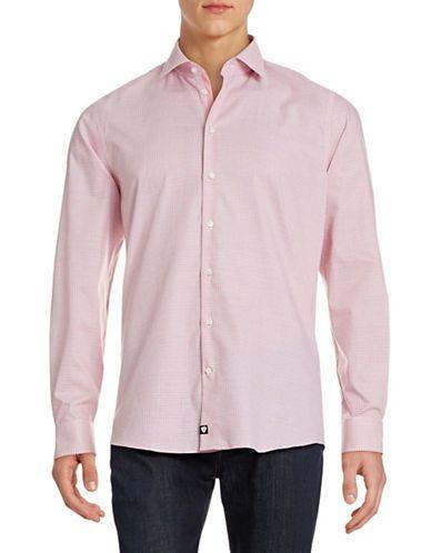 Strellson Slim Fit Textured Sportshirt Men's Bright Red 15.5
