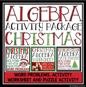 Christmas Algebra Solving Equations Activity Package Math