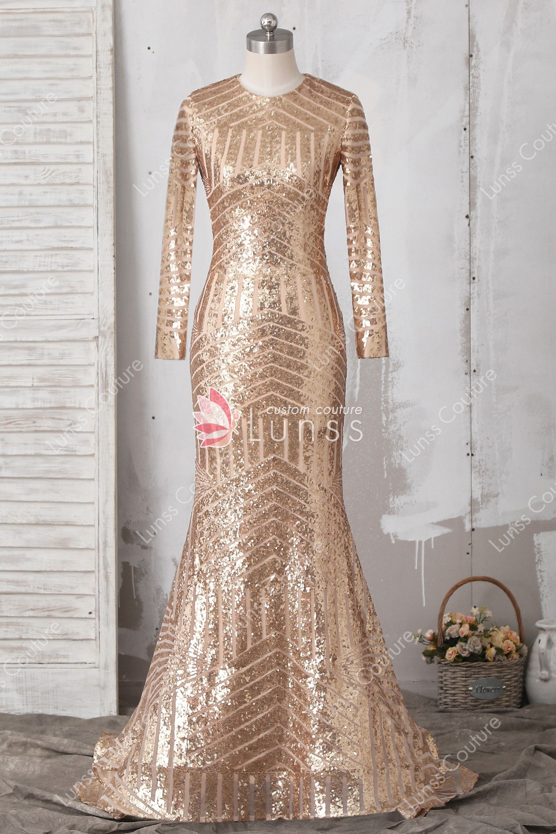 7c605739 Elegant Gold Sequin Lace Long Sleeves Mermaid Prom Dress with Court Train