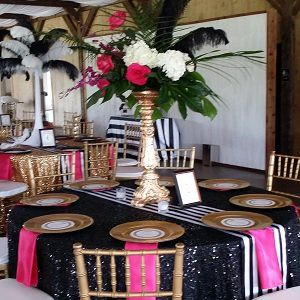 Black Sequin Tablecloths, Gold Sequin Tablecloths, Black U0026 White Striped  Lamour Runenrs, Fuchsia Satin Napkins.