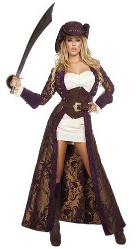 Decadent Pirate Diva costume includes long brown brocade jacket with studs,  waist cincher, white dress, matching hat, belt and boot cuffs.