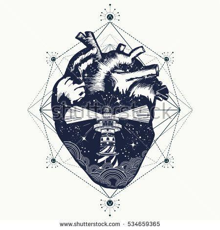Lighthouse At Heart Tattoo Travel Symbol Of Meditation Hiking