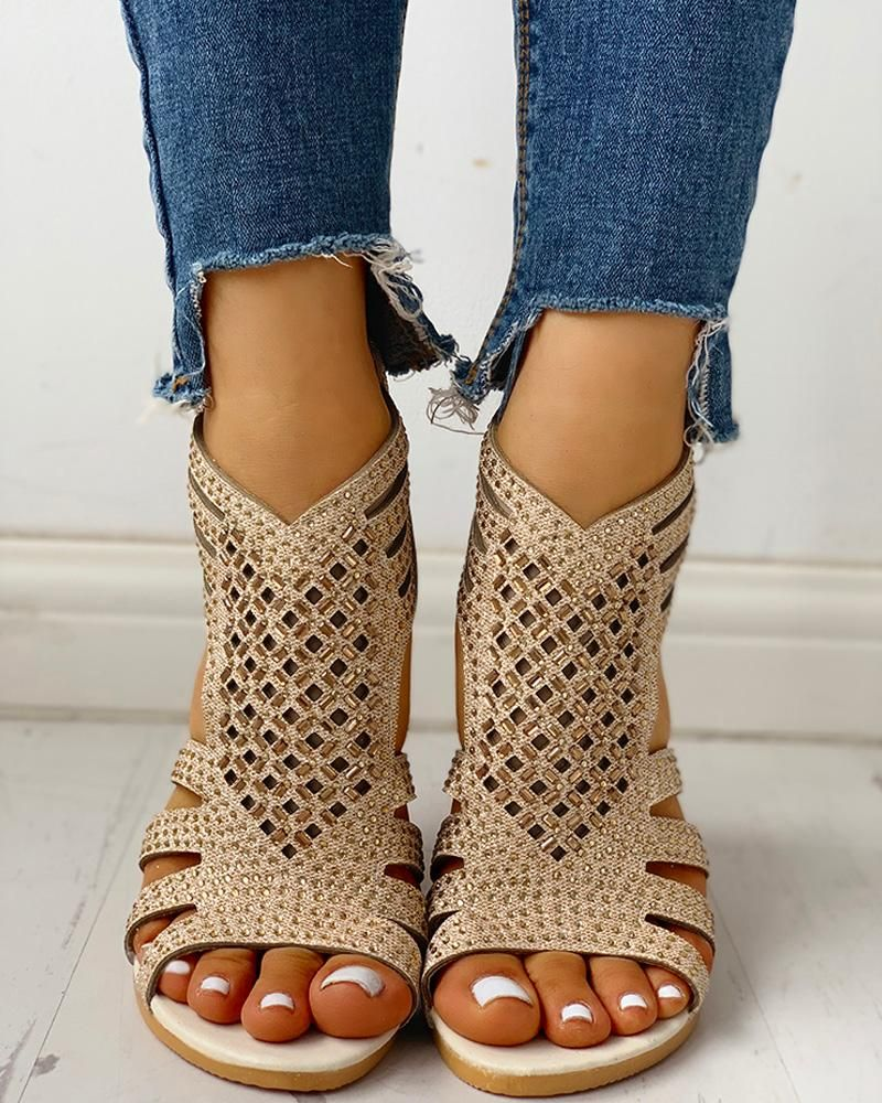 Studded Hollow Out Flat Sandals Studded Hollow Out Flat Sandals