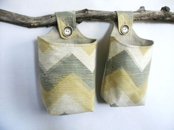 Fabric Hanging Baskets, Two Reversible Neutral Hanging Home Storage Baskets.  OneRedButtonCrafts