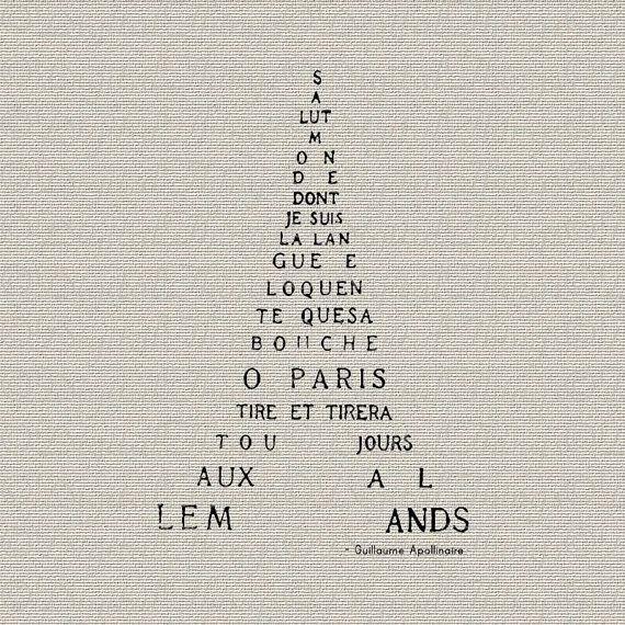 Eiffel Tower French Script Poem Word Art Typography Printable ...