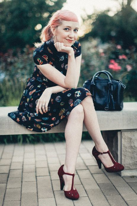 Adorable The Whole Outfit Dynamic Debut Heel In Burgundy Mod Retro Vintage Heels Modcloth Com Chic Clothing Style Vintage Chic Fashion Vintage Outfits