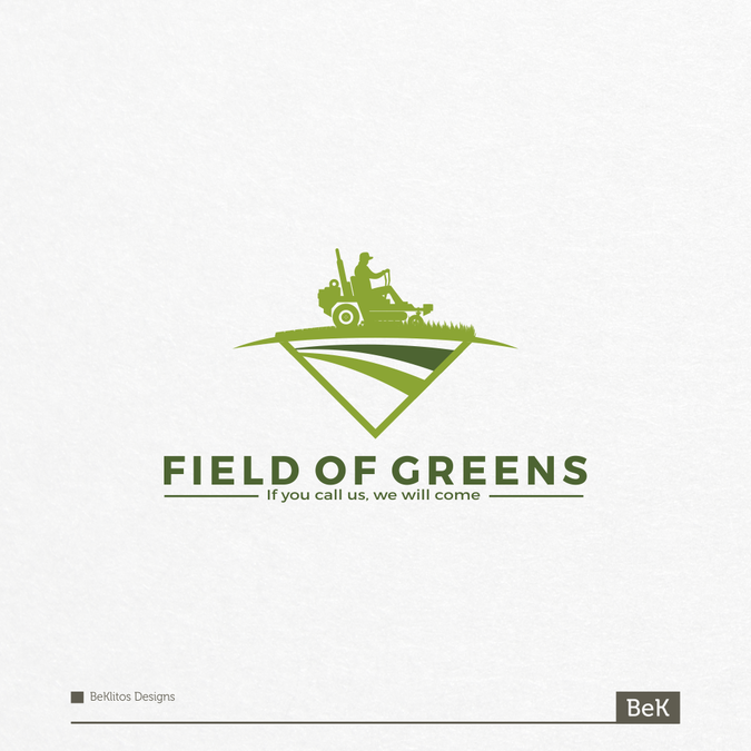 Field Of Greens Lawn Care And Landscaping Logo Design By
