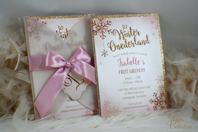 Winter Onederland Invitation, Winter birthday invitation girl, Girl ...