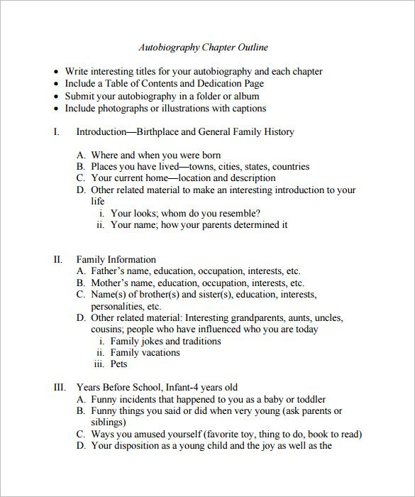 Free Book Writing Templates For Word Autobiography Outline Template  17 Free Word Pdf Documents .