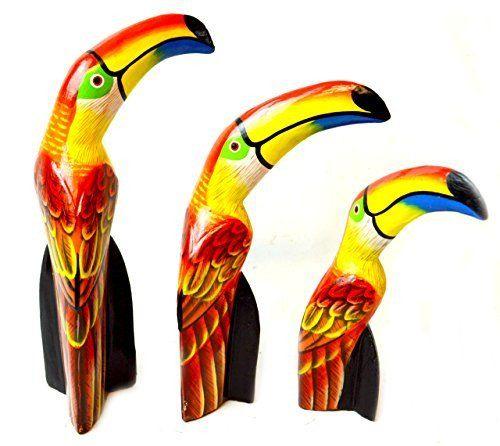 Beautiful set of 3 Wood Toucan Bird Sculpture Statue Art Home Decor