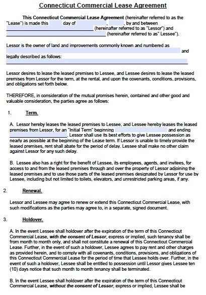 Printable Sample Commercial Lease Agreement Form Real Estate - rent to own contract sample