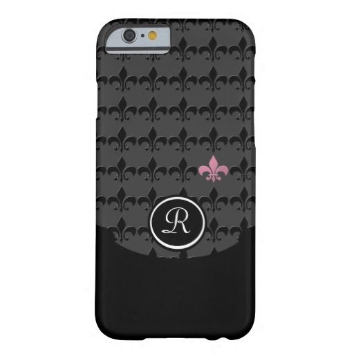 Multiple black fluer-de-lis with one single pink fluer-de-lis on a dark gray background. Customizable with your initials.