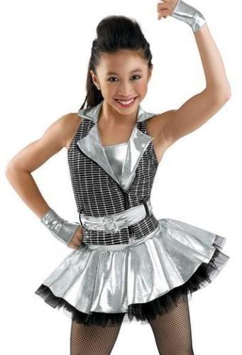 "GIRLS Silver Hologram /& NET High Shine 12/"" Skirt Space 80s JAZZ /& TAP Dance SHOW"