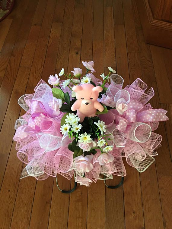 TEDDY FLORAL TRIBUTE SILK ARTIFICIAL PINK BEAR  FUNERAL MEMORIAL WREATH DISPLAY