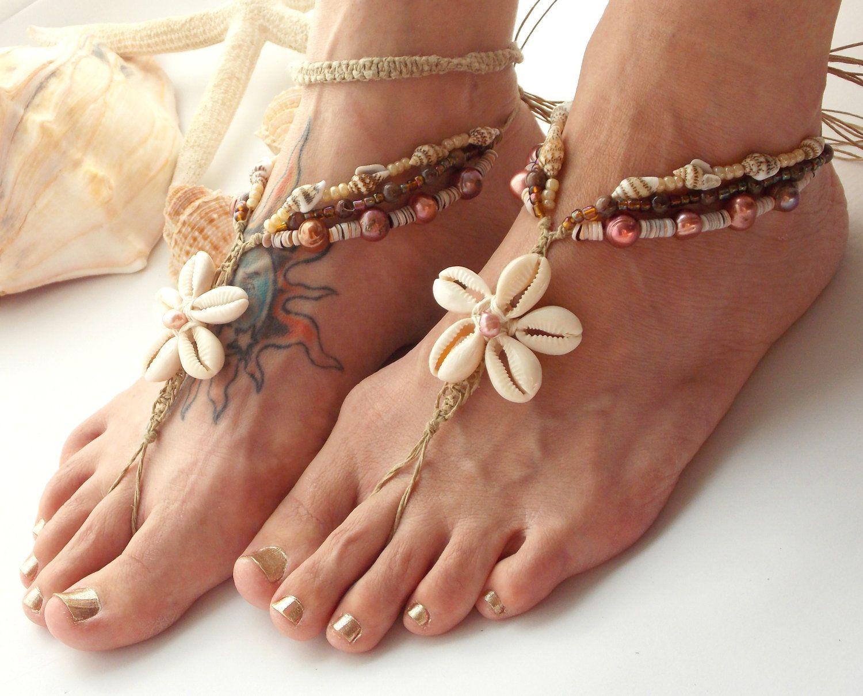 Beach Barefoot Sandals Cowrie Shells Flower Hemp Rose Pink