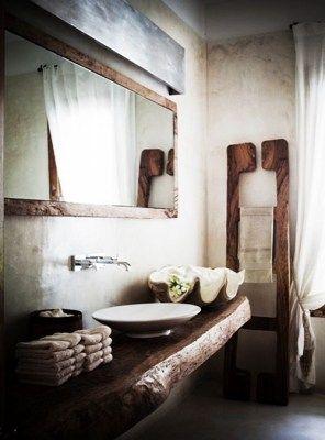 mobile bagno vintage piano in legno massello castagno scuro 140x45x6 ...