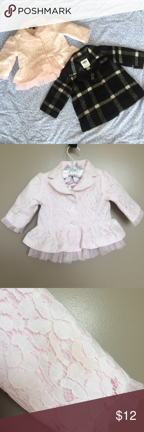Bundle of 2 jacket/coat for baby girl Beautiful pink lace jacket with very slight discoloration on back of sleeve (as shown) size 6 months and cute black and white coat from old navy size 3-6 months Jackets & Coats