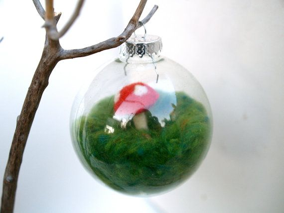 Wool felted glass ball ornament christmas ornaments