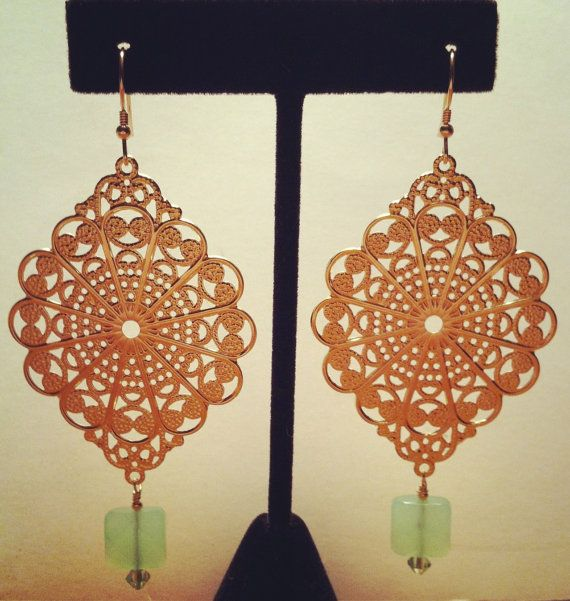 Bold Brass and Glass by BellaMiJewelry on Etsy, $35.00