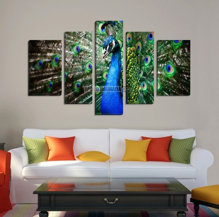 Canvas art colorful peacock print on canvas ready to hang 5 panels stretched