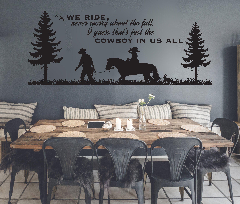 Large Western Wall Art Cowboy Wall Decor Etsy Wall Vinyl Decor Western Wall Art Cowboy Home Decor