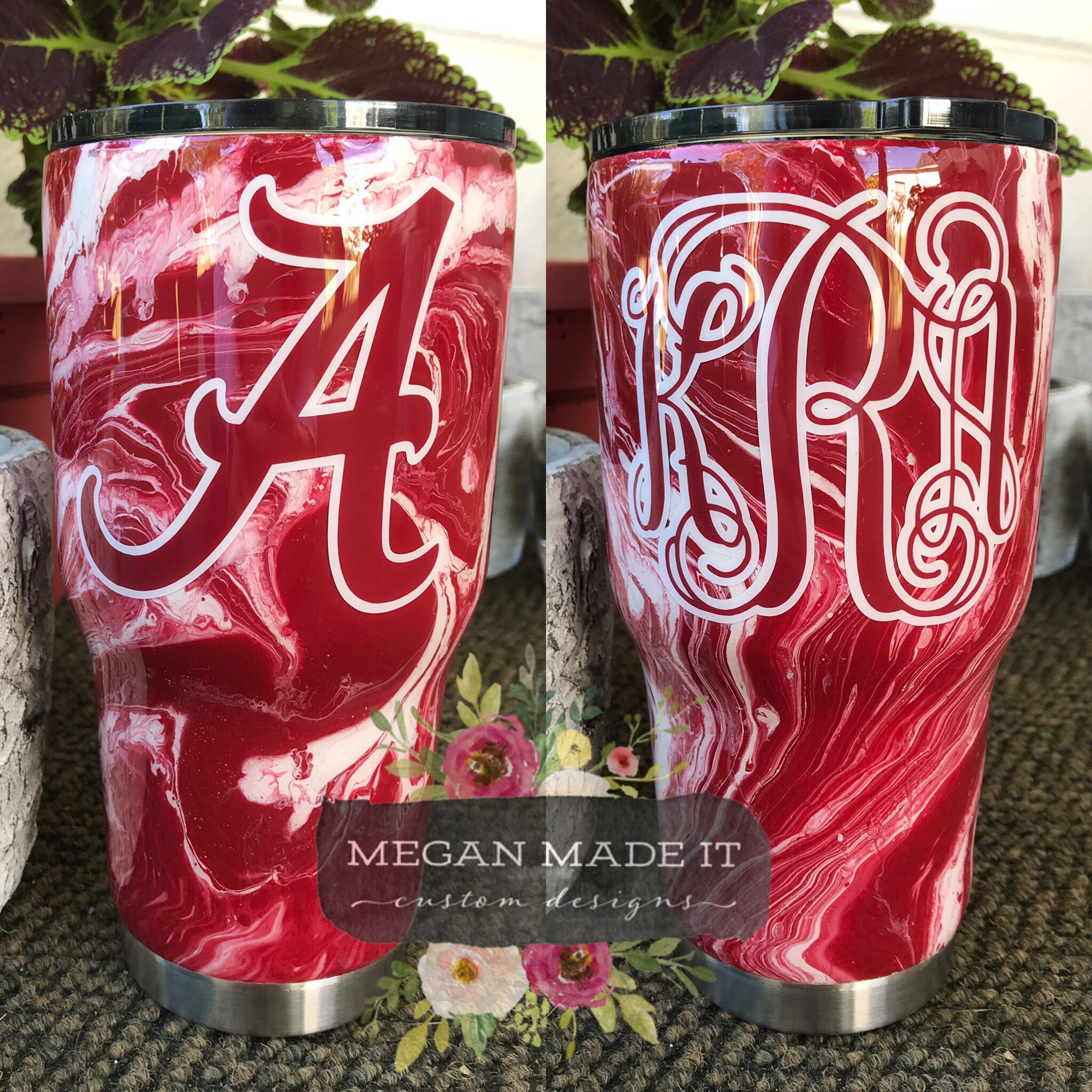 Red White Hydrodipped Monogram Tumbler Monogram Tumbler Monogrammed Tumbler Cups Custom Tumbler Cups