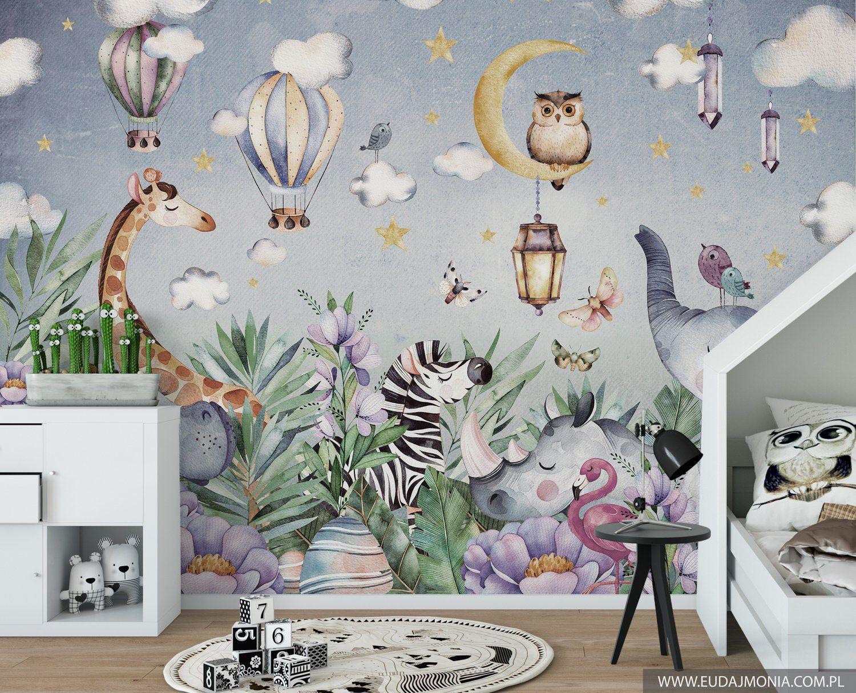 Jungle In The Night Wallpaper For Children With Animals Safari