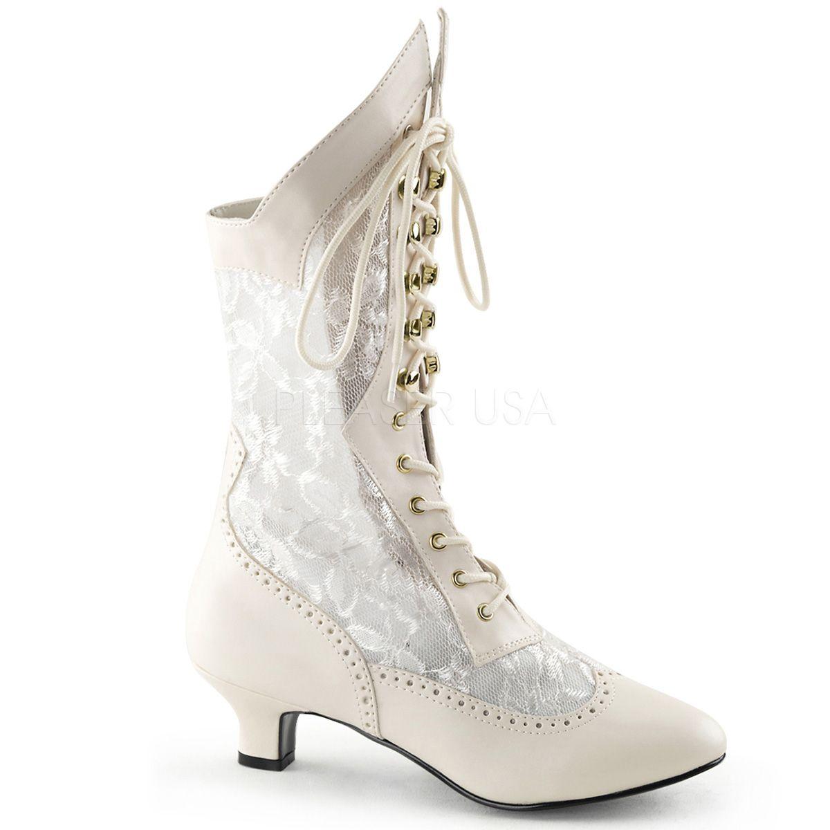 Pleaser Dame 05 - Bottes Classiques - Femme -, Blanc (Ivory PU Lace), 39 EU