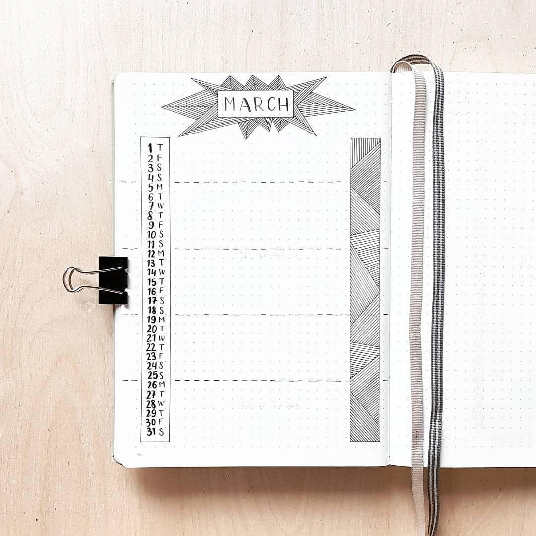 Bullet journal monthly calendar, linear calendar, vertical calendar, lineart. | @dotted.v