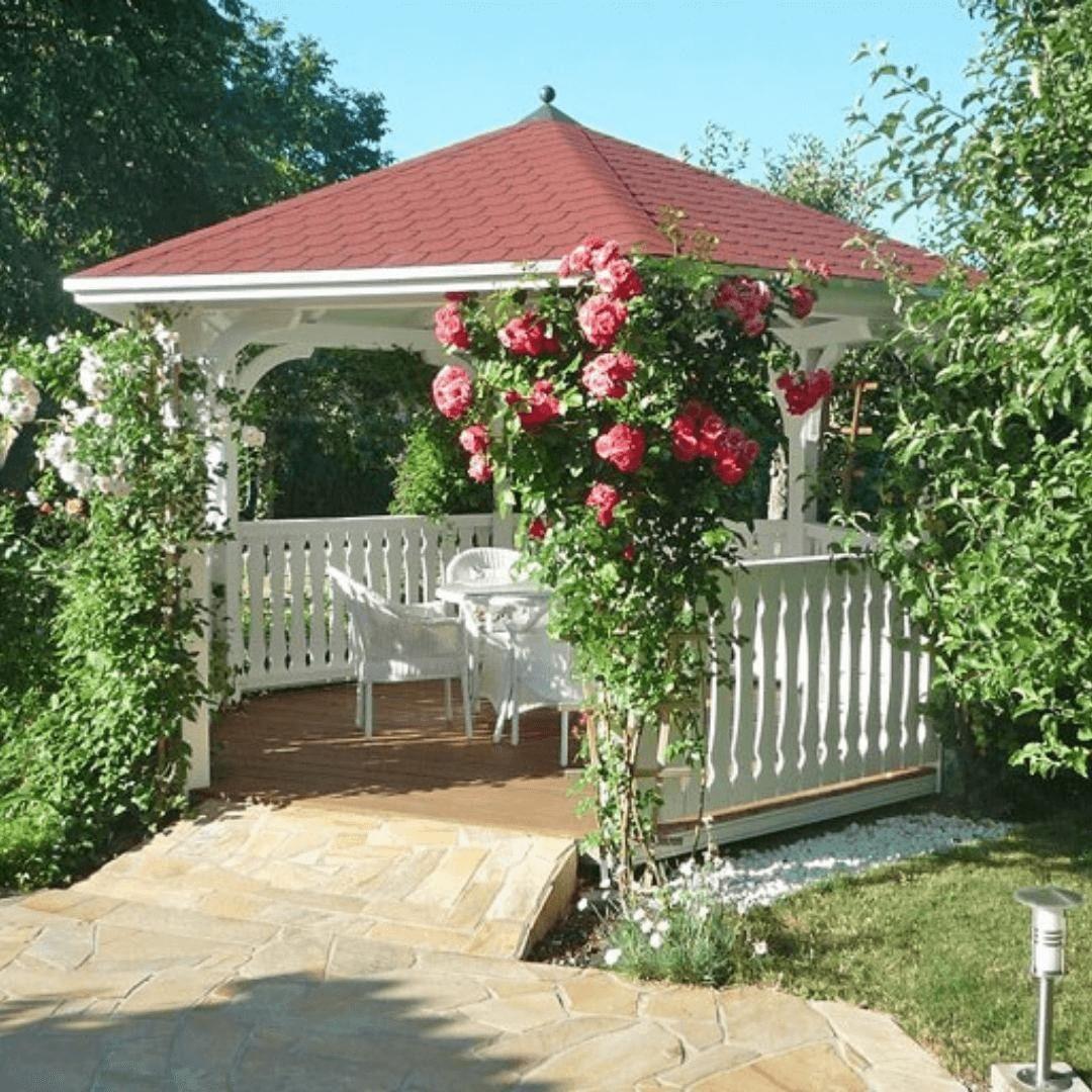 Ein Wahrer Gartentraum Unser Kunde Hat Sich Mit Unserem Gartenpavillon Nancy Eine Schone Gartenidylle Geschaffen Was Mein Garten Design Gartenparadies Garten