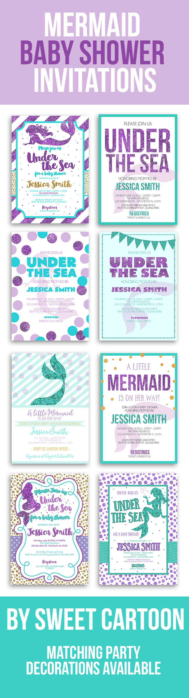 image about Printable Mermaid Baby Shower Invitations identified as Pin upon Youngster shower Designs