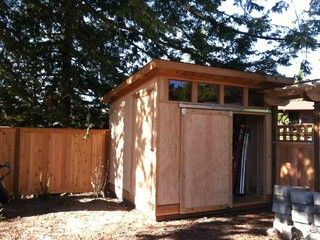 10 Ft X 10 Ft Garden Shed With Two Doors One Sliding And One Hinged Siding T 111 Plywood Framing 2x4 Walls Roof Wood Shed Plans Modern Shed Backyard Shed