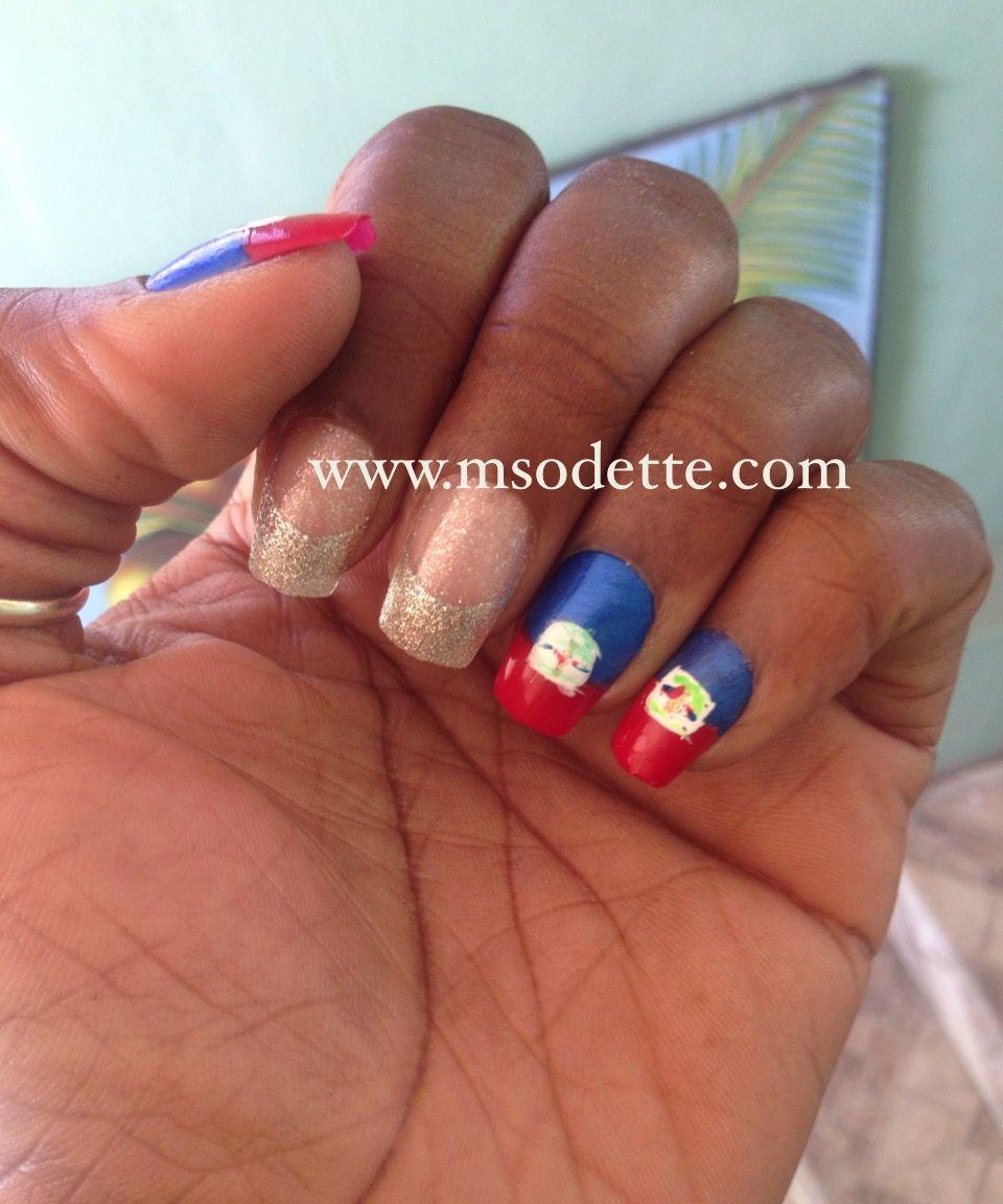 Haitian Flag nail designs www.msodette.com   Haitian Flag nail ...