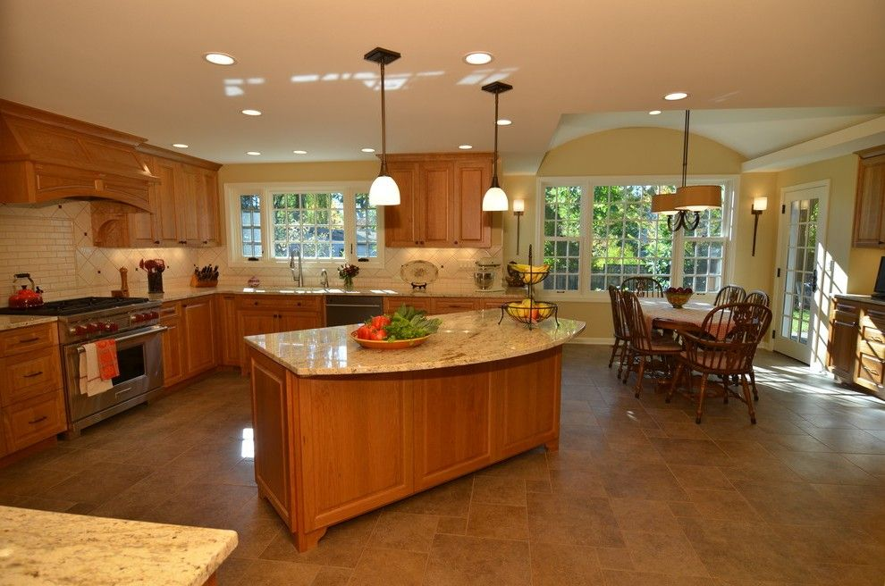 Beautiful Portland Honey Oak Kitchen With Rectangular Trash Cans Traditional And Custom  Cabinets